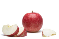 Apple. Red apple and sliced on white background Stock Images