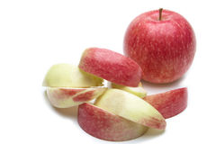 Apple. Red apple and sliced on white background Royalty Free Stock Image