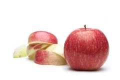 Apple. Red apple and sliced on white background royalty free stock photography