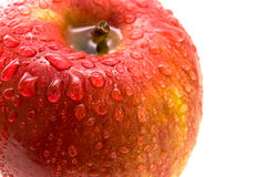 Apple. Beautiful close up red apple with drops Royalty Free Stock Photos