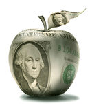 Apple. The apple surface is covered by dollar denomination royalty free stock photography