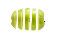 Apple. Sliced and diced on a white background stock images