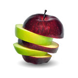 Apple. Stack of green and red apple stock image