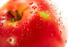 Apple. Red apple with water drops. Over white background Stock Photo