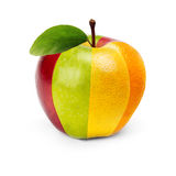 Apple. An Apple composed by several fruits stock photo