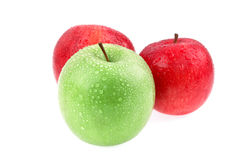 Apple. Three ripe apples on a white background Stock Photo