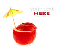 Apple. Umbrella and red apple on a white background Royalty Free Stock Photo