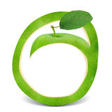 Apple. Green apple frame with leaf Royalty Free Stock Images