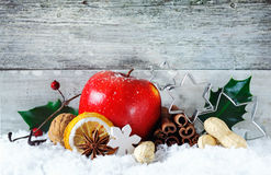 Apple和香料圣诞节背景 免版税库存照片