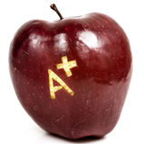 Apple with A+. Red delicious apple with A+ written on it. Image is  on white background Royalty Free Stock Photos