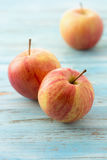 Apple. Red apple fruit, on wooden table stock photos