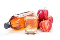 Ξίδι μηλίτη της Apple στο βάζο, το γυαλί και το φρέσκο μήλο, υγιές ποτό Στοκ Εικόνες