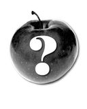 Apple ?. Grayscale Apple with a question mark stock photography