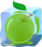 Apple. Fresh apple frozen in ice, illustrations vector Royalty Free Stock Photography