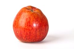 Apple. Single starking apple on white background. organic and so healthy food Royalty Free Stock Photography