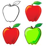 Apple. Fruit set, each in separated layer. Vector illustration, in 4 variations Royalty Free Stock Images