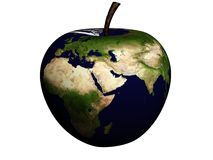 Apple. Planet earth in apple shape isolated on white Stock Image