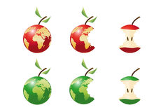 Apple. 3d Appla in red and in green Stock Photography