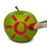 Apple. Fresh apple painted with red color Stock Images