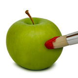 Apple. Fresh green apple painted with red color Royalty Free Stock Image