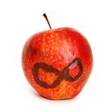 Apple with abstract eight symbol Stock Photography