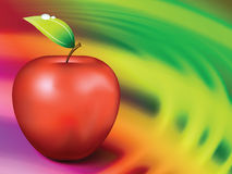 Apple on Abstract Liquid Wave Background Royalty Free Stock Photos