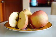 Apple affettato sulla zolla Immagine Stock Libera da Diritti