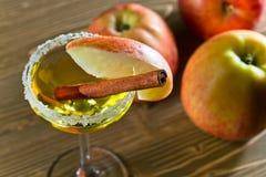 Apple-alcoholische drank met kaneel Stock Afbeeldingen
