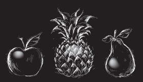 Apple, ananas e pera Fotografie Stock