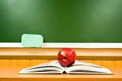 Apple And Book At Schoo Stock Image