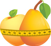 Apple And Pear With Measuring Tape Royalty Free Stock Images