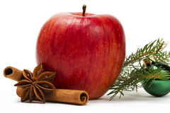 Apple anise cinnamon green christmas ball and a br Stock Photos