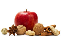 Apple anise cinnamon and nuts Stock Image