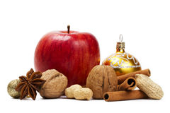 Apple anise nuts christmas ball and cinnamon Royalty Free Stock Images
