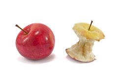 Apple and the apple core. Isolated on white background Stock Photography