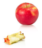 Apple and apple core Royalty Free Stock Photo
