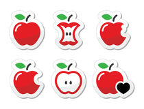 Apple, apple core, bitten, half  labels set Royalty Free Stock Photos