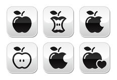 Apple, apple core, bitten, half vectot buttons Stock Photo