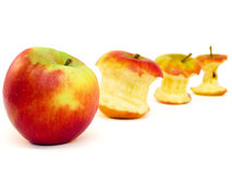 Apple and apple cores  on white Stock Photo