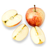 Apple and apple slices on white background. Stock Photos