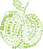Apple of apples. A shape of an apple consisted of many words apple Stock Image