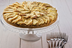 Apple Apples Cake Pie Stand Glass Fork Forks Royalty Free Stock Photography