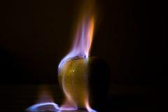 Apple ardiendo Imagen de archivo libre de regalías