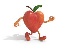 Apple with arms and legs walking Stock Photography