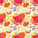 Apple arrangement seamless pattern, fall harvest watercolor Than. Ksgiving  wallpaper with pumpkins, berries, flowers and leaves on the watercolor wash Stock Photos