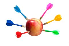 Apple as aim for darts Royalty Free Stock Photo