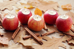 Apple as candlestick Royalty Free Stock Images