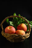 Apple and Asiatic in basket on black background Stock Images
