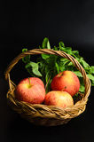 Apple and Asiatic in basket on black background Royalty Free Stock Photography