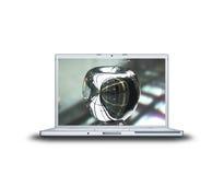 Apple auf Laptopbildschirm Lizenzfreies Stockbild